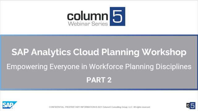 PART 2 – Hands-On Virtual Training – SAP Analytics Cloud Planning Workshop