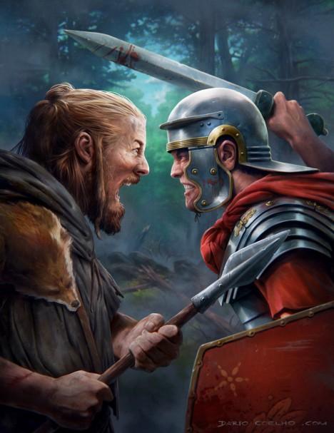 Říman doplácí na svoji těžkou výzbroj. Proti Germánovi s lehkým kopím nemá šanci.