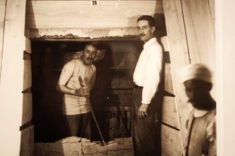 Carter (left) with a sledge hammer; wooden partitions were built to