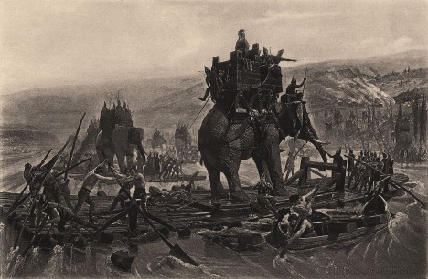 War elephants depicted in Hannibal Barca crossing the Rhône, by Henri Motte, 1878