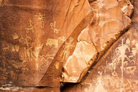 Petroglyphs or rock carving on Newspaper Rock, Utah, USA