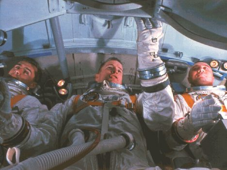 Chaffee, White, and Grissom training in a simulator of their Command Module cabin, January 19, 1967.