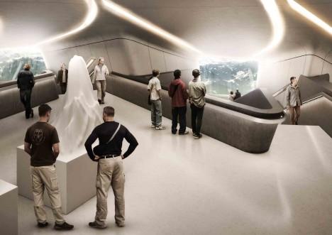 V interiéru futuristického muzea na italském Kornplatze je expozice věnovaná dějinám alpského horolezectví.