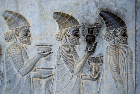 Detail of a relief of the eastern stairs of the Apadana, Persepolis, depicting Persians bringing their very famous wine to the king.