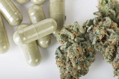 Dried marijuana and green capsules.