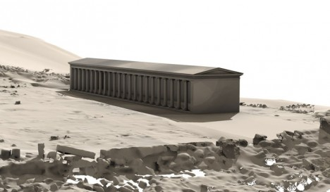 ) Virtual reconstruction of the entire stoa
