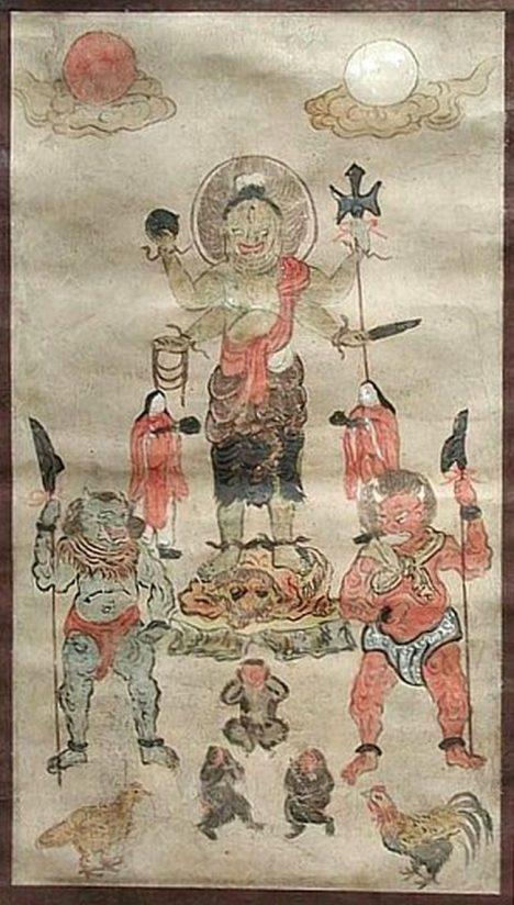 17th Century Folk Painting (Scroll) of Shomen Kongo. Used for the Koshin Vigil, Koshin Wake, Koshin Gathering, Koshin Ritual.