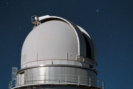 This is the dome of the Danish 1.54-metre telescope at La Silla. It has been in use since 1979 and was completely overhauled in 1993. It is now equipped with the Danish Faint Object Spectrograph and Camera spectrograph/camera.
