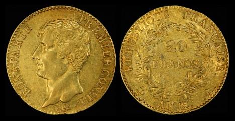Dvacetifrank z doby vlády císaře Napoleona I. Bonaparta je hodnotnou měnou.