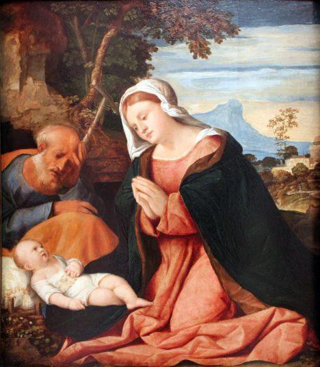 Svatá rodina s Ježíškem. Už Josef s Marií museli z Nazareta do Betléma kvůli sčítání lidu.