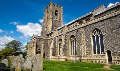 Kostel ve vesnici Worstead, kde k zázraku mělo dojít.
