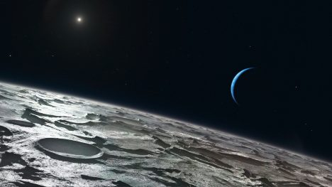 Artist's impression of how Triton, Neptune's largest moon, might look from high above its surface. The distant Sun appears at the upper-left and the blue crescent of Neptune right of centre. Using the CRIRES instrument on ESO's Very Large Telescope, a team of astronomers has been able to see that the summer is in full swing in Triton's southern hemisphere.