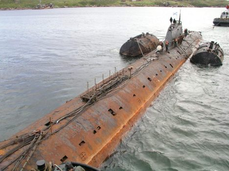 Last photo: This is how K-159 was looking when she was fastened to the pontoons supposed to keep the submarine floating while being towed from Gremikha on August 28, 2003. On the night to August 30, K-159 sank. (Photo: Courtesy of Bellona Foundation.)