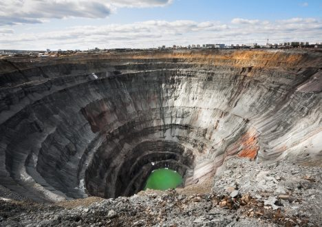 Here diamonds were extracted. The Mir mine (kimberlite diamond pipe