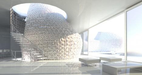 Architekti plánují, že první domy vyrobené technologií 3D tisku budou mít stejným způsobem vytvořený i interiér.