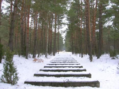 Kolejové pražce vedoucí do tábora v Treblince byly symbolicky znovuobnoveny.