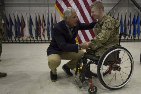 Secretary of Defense Chuck Hagel speaks to servicemembers on Bagram Airfield, Afghanistan June 1, 2014. Official DoD Photograph by Sgt. Aaron Hostutler USMC
