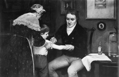Original caption: Dr. Edward Jenner (1749-1823), British physician performing his first vaccination on James Phipps, a boy of eight, on May 14, 1796. Painting by E. Board in the Welcome Museum, London. Undated painting. --- Image by © Bettmann/CORBIS