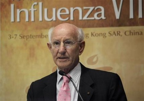 Robert Webster, chairman of the Department of Virology and Molecular Biology at St. Jude Children's Research Hospital in Memphis, Tenn., attends the Options for the Control of Influenza conference in Hong Kong Sunday, Sept. 5, 2010 in Hong Kong. Webster urged health authorities around the world to stay vigilant even though the recent swine flu pandemic was less deadlier than expected, warning that bird flu could spark the next global outbreak. (AP Photo/Vincent Yu)