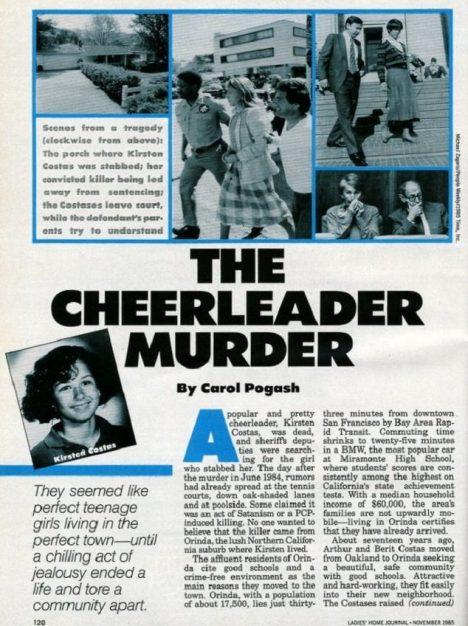 Článek o vraždě Kirsten Costasové. V horní části snímku policie vede Bernadette Prottiovou.