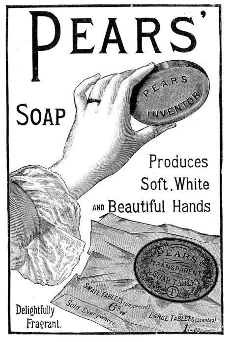 Později v 19. století se rodí reklamy zdůrazňující skvělé vlastnosti mýdla. žádná žena se bez něj neobejde.