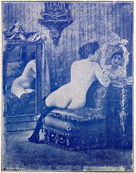 Akt ženy vytištěný pomocí Husníkova světlotisku dokonale pracuje se stínem i světly.