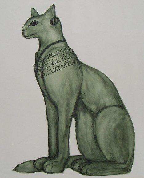 Bohyně Bastet, dcera slunečního boha Re se zobrazuje v podobě kočky.