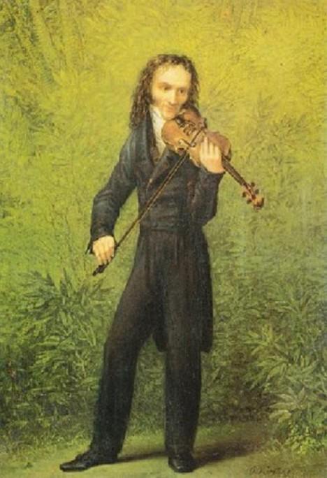 Nicolo Paganini svým dlouhýma a tenkýma rukama housle dokonale ovládne.