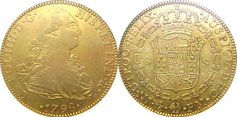 Spanish gold 4-doubloon coin (8 escudos). 27.07 grams, 91.70% purity