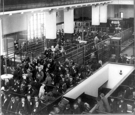 Immigrants just arrived from Foreign Countries--Immigrant Building, Ellis Island, New York Harbor. 1904