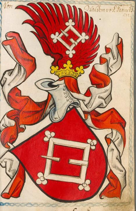 Erb rytíře Jana z Wallenrodu, který se stal královniným milencem.