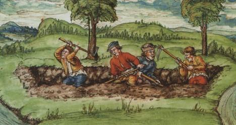 Fossa Carolina, práce na propojení řek začínají už za vlády prvního císaře středověké římskoněmecké říše.