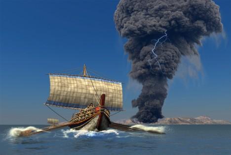 Ostrov Théra, Středozemní moře Kdy?: 1470 př. Kr. Počet obětí: neznámý Ohromná exploze vulkánu na řeckém ostrově Théra, dnes známém jako Santorini, je jednou z nejstarších doložených katastrof spojovaných s tsunami. Výbuch před 3,5 tisíci lety zcela zničil antickou kulturu ostrova. Vlna tsunami dosahovala podle odhadů výšky až 100 metrů. Měla dost energie na to, aby zničila obydlí na pobřeží po celém Středomoří.