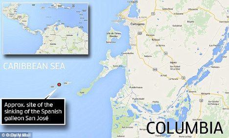 Díky poměrně přesným dobovým záznamům se podařilo polohu vraku odhalit v hloubce asi 300 metrů u kolumbijského pobřeží.