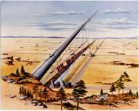 Jako odpalovací rampa projektu StarTram má pro lodě sloužit tunel dlouhý 130 kilometrů a stoupající do výšky 6 kilometrů.