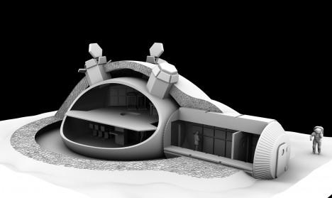 Průřez základnou ukazuje vnitřní prostor, který je tvořen nafukovacím stanem. Ten je obestavěn ochrannou zdí z měsíční horniny.