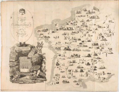 Gastronomická mapa Francie. Právě v téhle zemi se zrodil zřejmě nejstarší dochovaný jídelní lístek na světě.