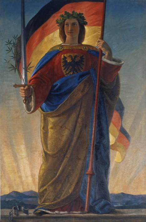 Germania, jeden ze symbolů revoluce v roce 1848. Na barikádách nechybí ani známý skladatel.