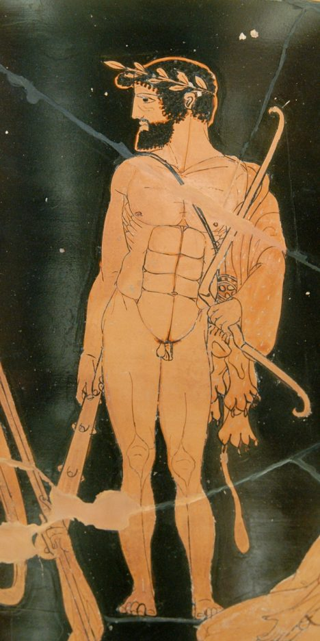 Heracles wearing a hero's wreath, a lion-skin, and carrying a club. Milon appeared in similar dress at the battle between Croton and Sybaris in 510 BC. Detail of Herakles from Side A of the vase,
