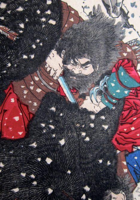 Japonský guvernér Abe no Hirafu Ainy ve své provincii netrpí.