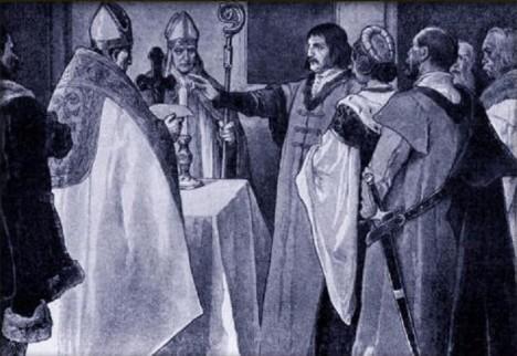 Jiří z Poděbrad a jeho žena přísahají před královskou korunovací.