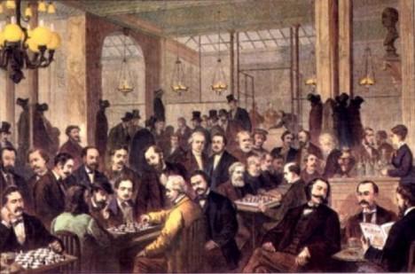 Kavárna Cafe de la Regence v Paříži se v 18. století stává oblíbeným místem setkání šachistů.