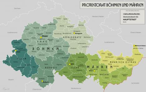 Mapa protektorátu Čechy a Morava. Na jeho území se některé zboží oficiálně nesmí prodávat.