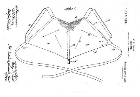 Náčrtek podprsenky, kterou si nechala v roce 1914 patentovat Američanky Mary Phelps Jacobová.