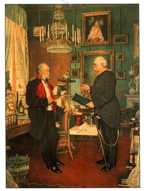 Německý císař Vilém I. a jeho kancléř Bismarck, který uvádí do praxe sociální reformy.