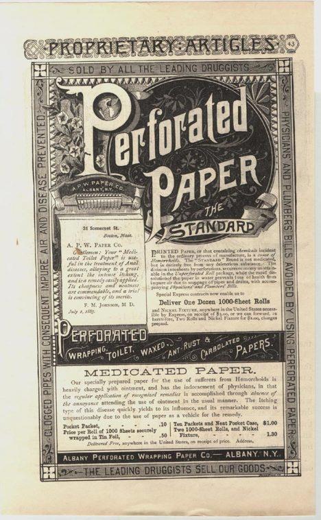 Na Gayettyho toaletní papír se objevuje reklama, která zdůrazňuje, že je léčivý.