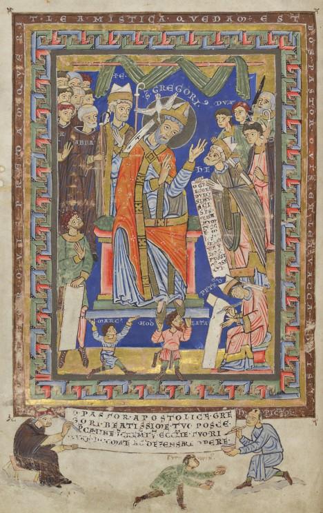 Olomoucký biskup Jindřich Zdík (vpravo s listinou) na dedikační listině olomouckého horologia. Zdík věnuje knihovně na Strahově knižní díla ze své písařské dílny.
