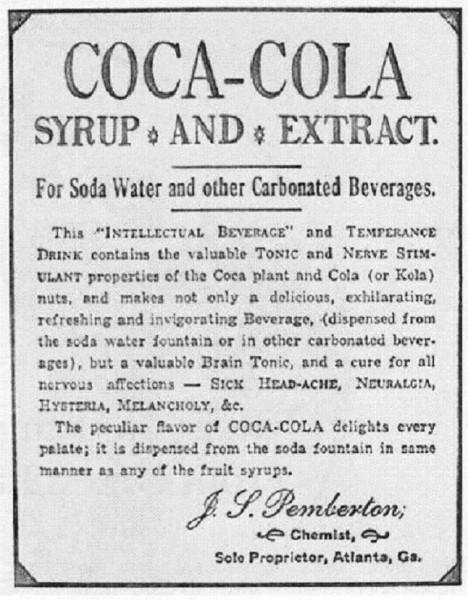 Podle jednoho z prvních inzerátů pomáhá Coca Cola i na nervy.