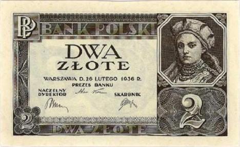 Poláci si své kněžny Doubravky velice váží. Dokonce natolik, že se v roce 1936 dostala i na bankovku o hodnotě 2 zloté.