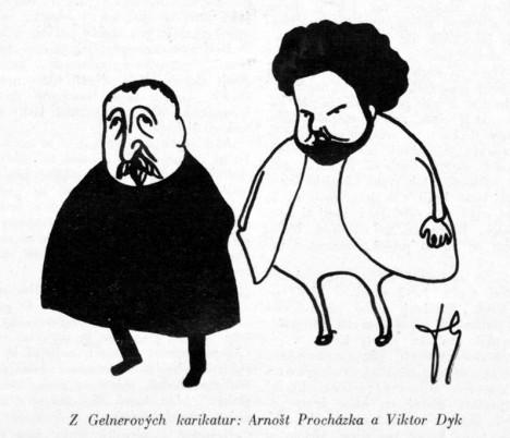 Kromě poezie se Gellner věnuje i kresbě karikatur.